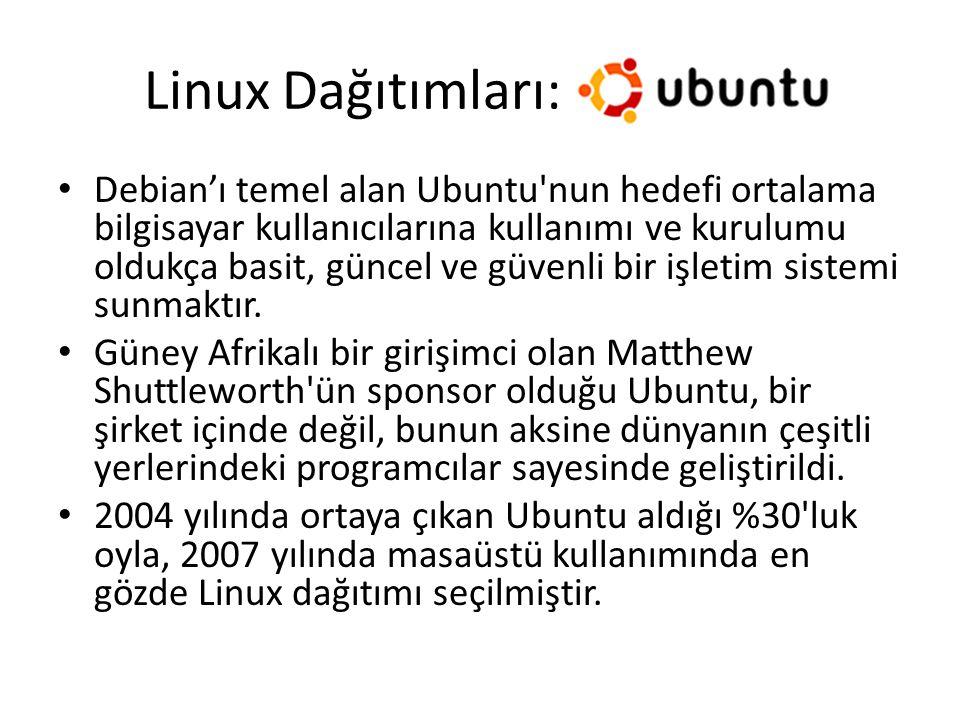 Linux Dağıtımları: Debian'ı temel alan Ubuntu'nun hedefi ortalama bilgisayar kullanıcılarına kullanımı ve kurulumu oldukça basit, güncel ve güvenli bi