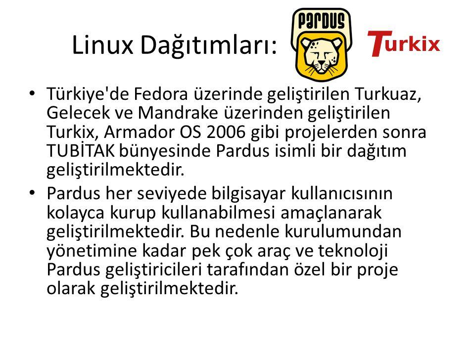 Linux Dağıtımları: Türkiye'de Fedora üzerinde geliştirilen Turkuaz, Gelecek ve Mandrake üzerinden geliştirilen Turkix, Armador OS 2006 gibi projelerde