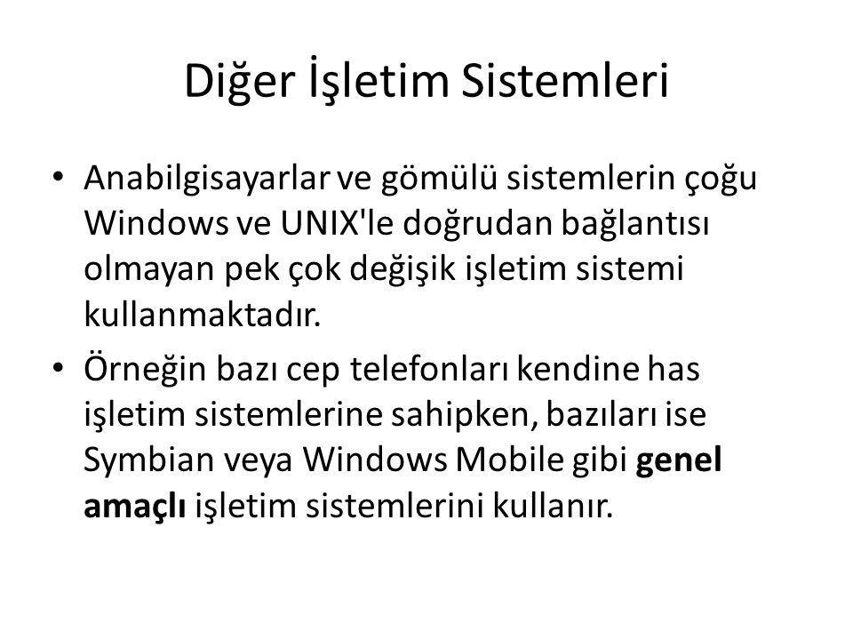 Diğer İşletim Sistemleri Anabilgisayarlar ve gömülü sistemlerin çoğu Windows ve UNIX'le doğrudan bağlantısı olmayan pek çok değişik işletim sistemi ku