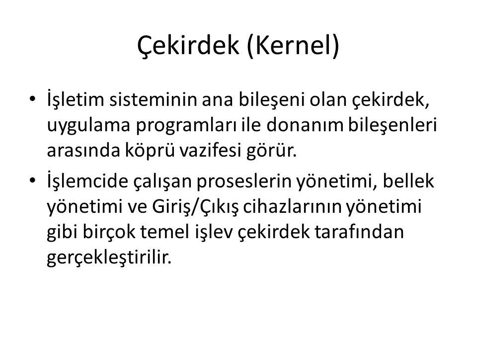 Çekirdek (Kernel) İşletim sisteminin ana bileşeni olan çekirdek, uygulama programları ile donanım bileşenleri arasında köprü vazifesi görür. İşlemcide