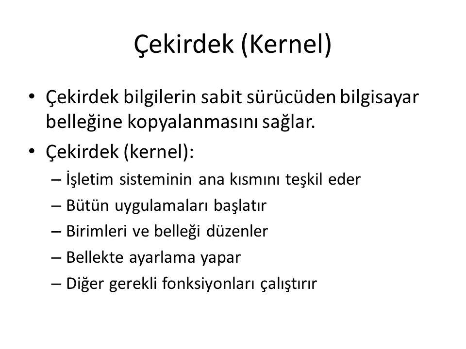Çekirdek (Kernel) Çekirdek bilgilerin sabit sürücüden bilgisayar belleğine kopyalanmasını sağlar. Çekirdek (kernel): – İşletim sisteminin ana kısmını