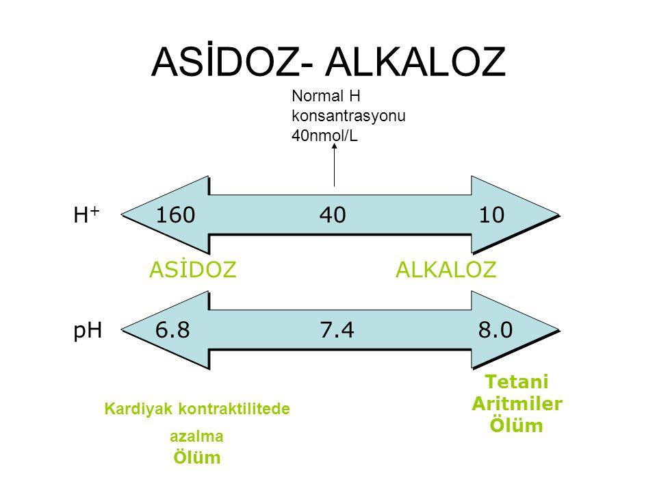 ASİDOZ- ALKALOZ pH6.87.48.0 Kardiyak kontraktilitede azalma Ölüm Tetani Aritmiler Ölüm H+H+ 1604010 ASİDOZALKALOZ Normal H konsantrasyonu 40nmol/L