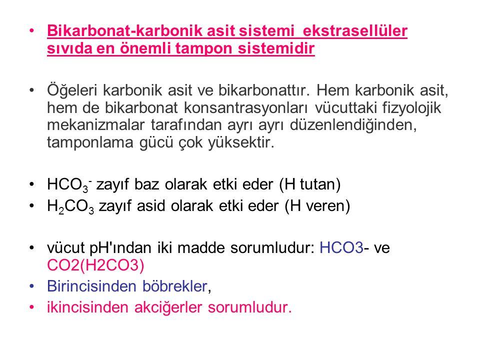 Bikarbonat-karbonik asit sistemi ekstrasellüler sıvıda en önemli tampon sistemidir Öğeleri karbonik asit ve bikarbonattır.