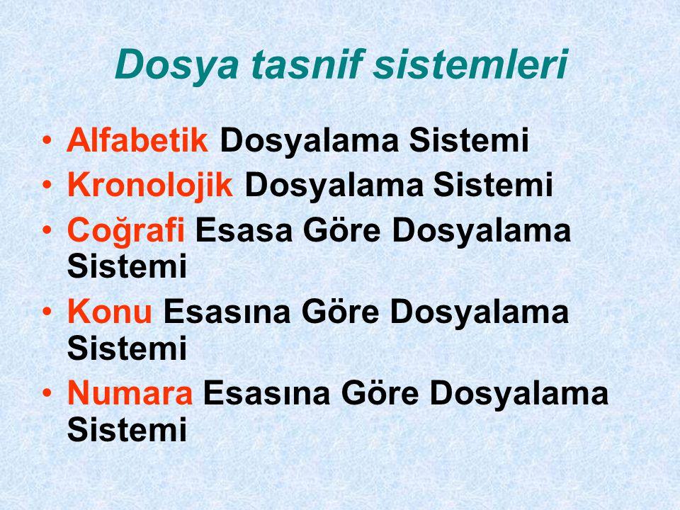 Dosya tasnif sistemleri Alfabetik Dosyalama Sistemi Kronolojik Dosyalama Sistemi Coğrafi Esasa Göre Dosyalama Sistemi Konu Esasına Göre Dosyalama Sistemi Numara Esasına Göre Dosyalama Sistemi