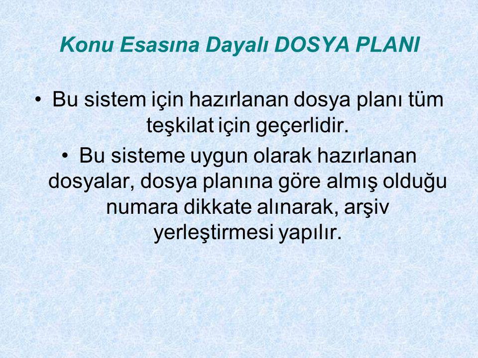 Konu Esasına Dayalı DOSYA PLANI Bu sistem için hazırlanan dosya planı tüm teşkilat için geçerlidir. Bu sisteme uygun olarak hazırlanan dosyalar, dosya
