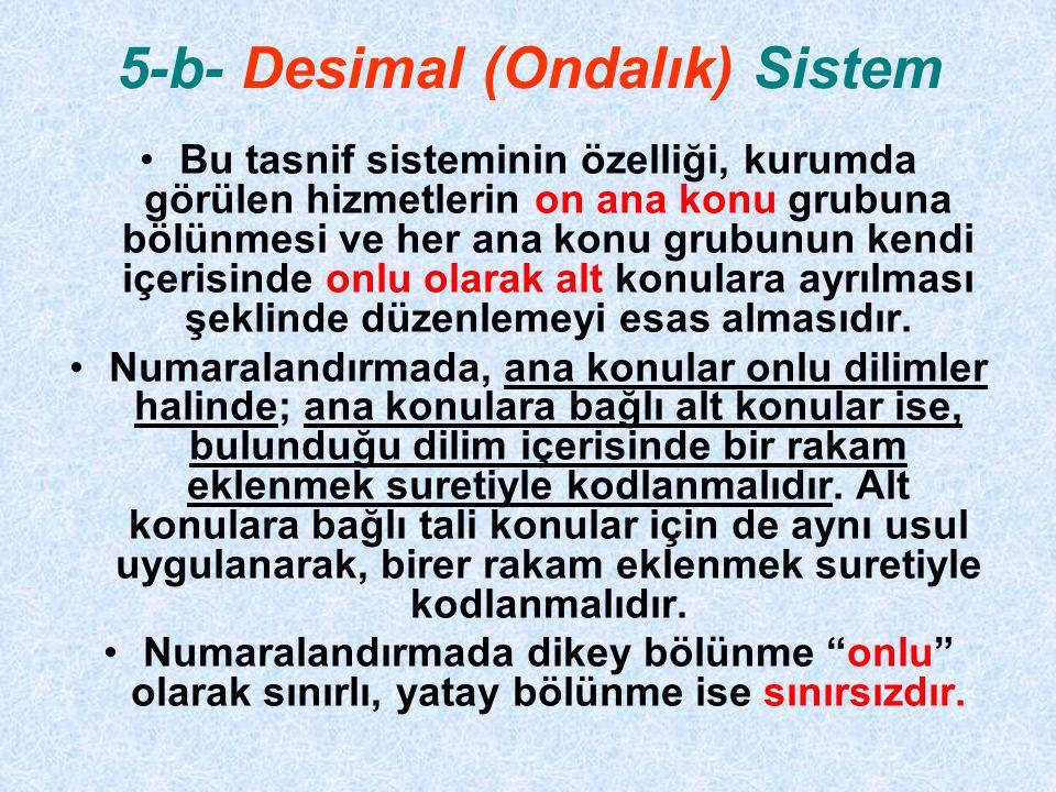 5-b- Desimal (Ondalık) Sistem Bu tasnif sisteminin özelliği, kurumda görülen hizmetlerin on ana konu grubuna bölünmesi ve her ana konu grubunun kendi içerisinde onlu olarak alt konulara ayrılması şeklinde düzenlemeyi esas almasıdır.