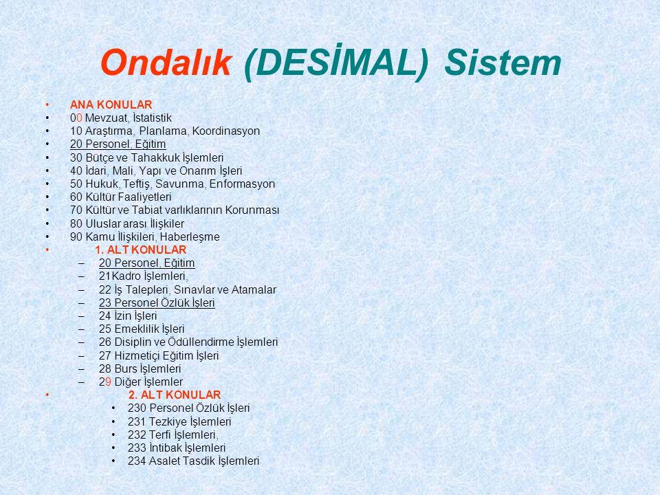 Ondalık (DESİMAL) Sistem ANA KONULAR 00 Mevzuat, İstatistik 10 Araştırma, Planlama, Koordinasyon 20 Personel, Eğitim 30 Bütçe ve Tahakkuk İşlemleri 40