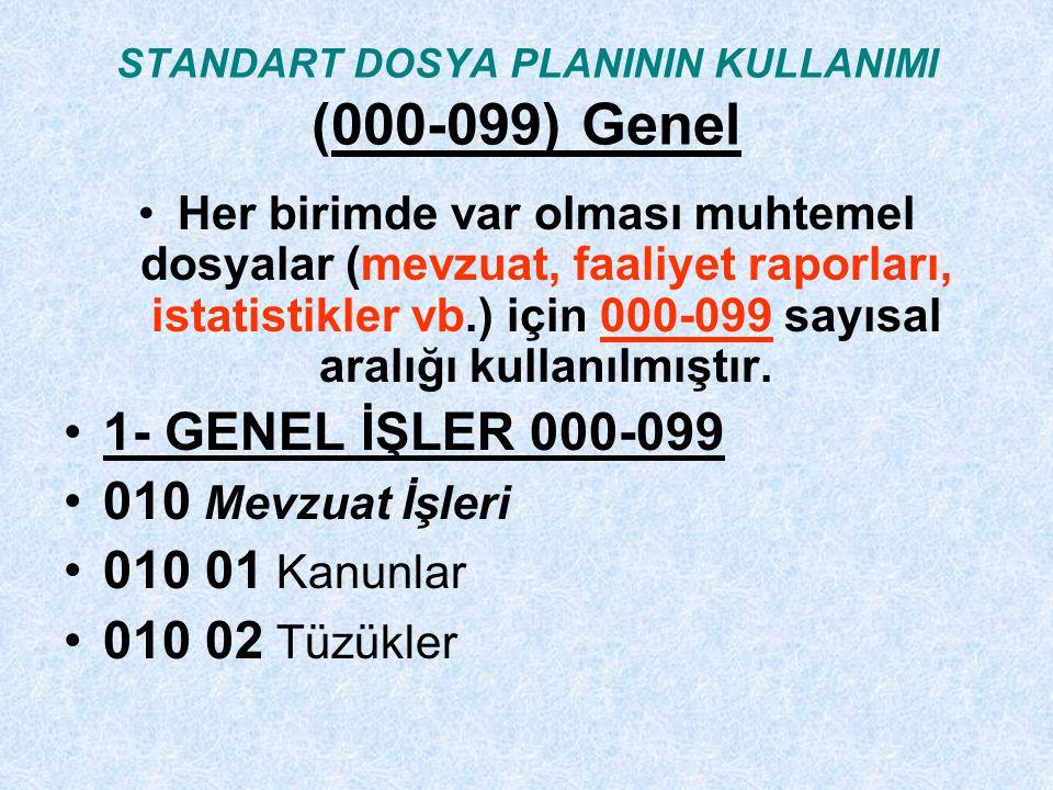 STANDART DOSYA PLANININ KULLANIMI (000-099) Genel Her birimde var olması muhtemel dosyalar (mevzuat, faaliyet raporları, istatistikler vb.) için 000-099 sayısal aralığı kullanılmıştır.