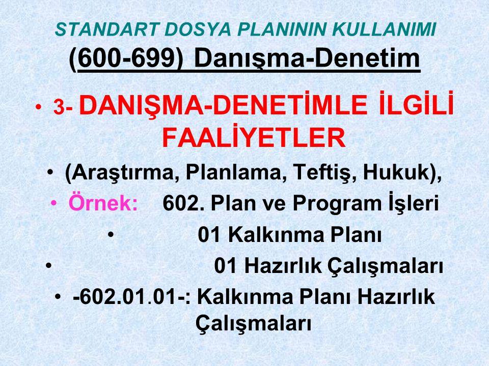 STANDART DOSYA PLANININ KULLANIMI (600-699) Danışma-Denetim 3- DANIŞMA-DENETİMLE İLGİLİ FAALİYETLER (Araştırma, Planlama, Teftiş, Hukuk), Örnek: 602.