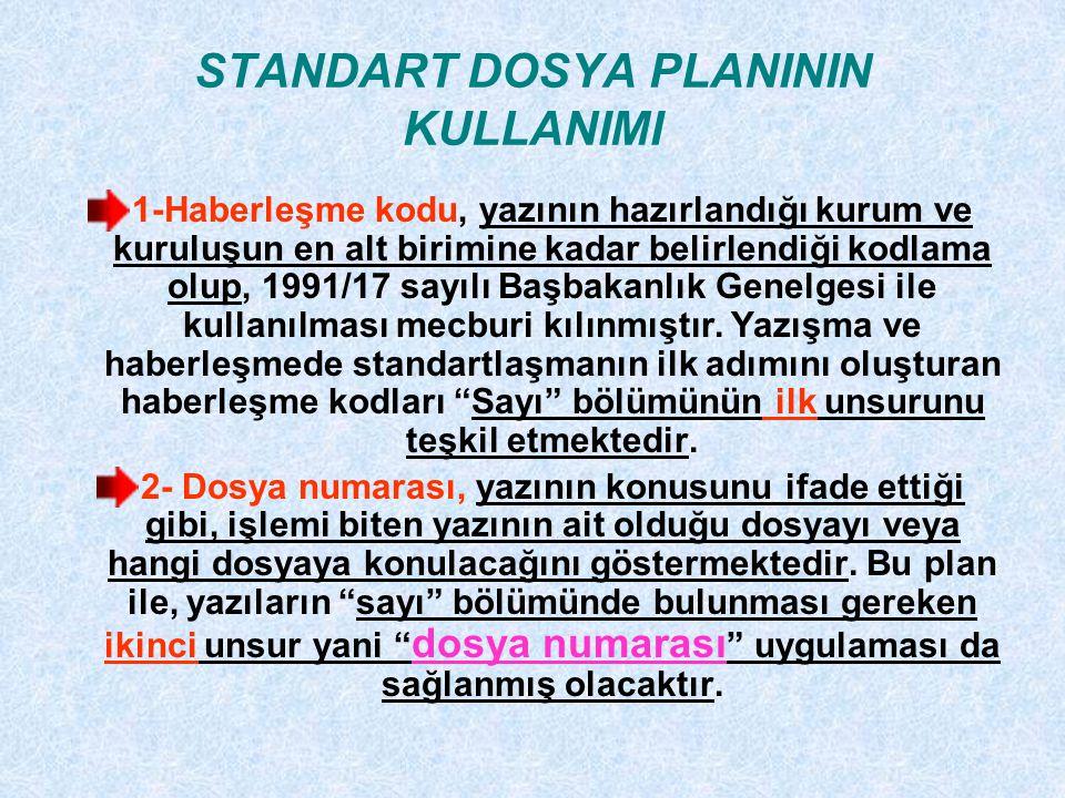 STANDART DOSYA PLANININ KULLANIMI 1-Haberleşme kodu, yazının hazırlandığı kurum ve kuruluşun en alt birimine kadar belirlendiği kodlama olup, 1991/17 sayılı Başbakanlık Genelgesi ile kullanılması mecburi kılınmıştır.