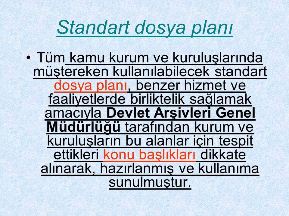 Standart dosya planı Tüm kamu kurum ve kuruluşlarında müştereken kullanılabilecek standart dosya planı, benzer hizmet ve faaliyetlerde birliktelik sağ