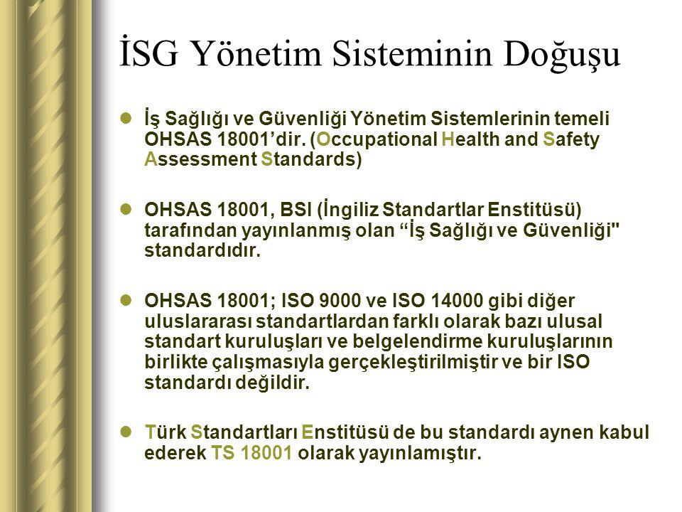 İSG Politikasının rolü İSG politikası, kuruluşun tüm İSG performansı ile ilgili niyet ve İSG yönetim sisteminin yönünü gösterir.