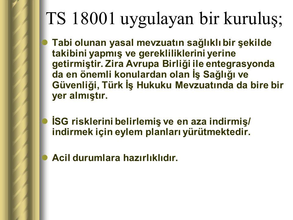 TS 18001 uygulayan bir kuruluş; İSG hedefleri belirlemiş ve bunlara ulaşmak için eylem planları yürütmektedir.