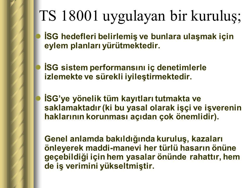 TS 18001 Standart 6 ana maddeden oluşur: 4.1.Genel Şartlar 4.2.