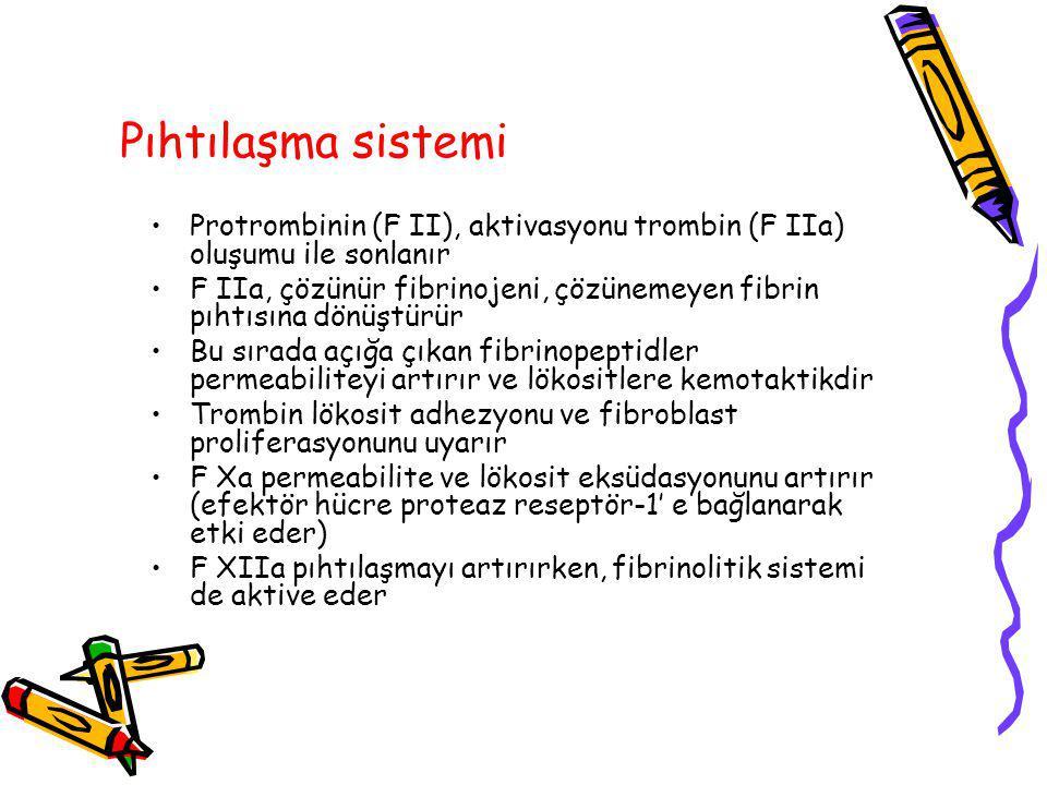 Pıhtılaşma sistemi Protrombinin (F II), aktivasyonu trombin (F IIa) oluşumu ile sonlanır F IIa, çözünür fibrinojeni, çözünemeyen fibrin pıhtısına dönü