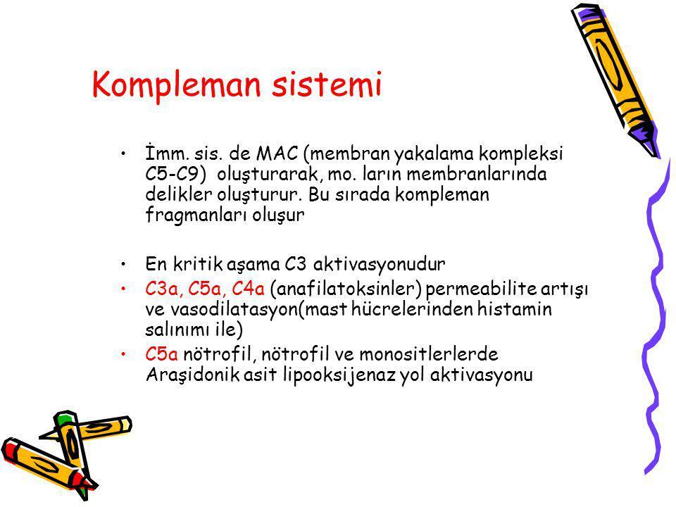 Kompleman sistemi İmm.sis. de MAC (membran yakalama kompleksi C5-C9) oluşturarak, mo.
