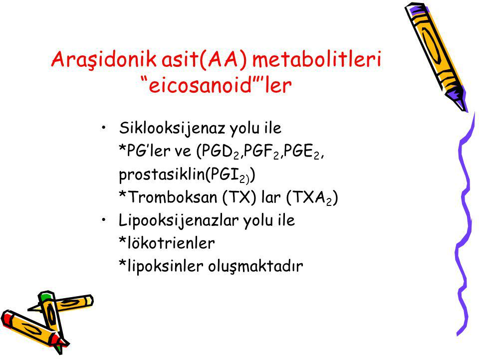 """Araşidonik asit(AA) metabolitleri """"eicosanoid""""'ler Siklooksijenaz yolu ile *PG'ler ve (PGD 2,PGF 2,PGE 2, prostasiklin(PGI 2) ) *Tromboksan (TX) lar ("""