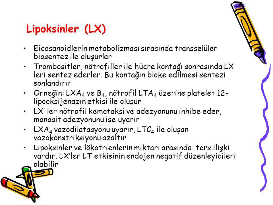 Lipoksinler (LX) Eicosanoidlerin metabolizması sırasında transselüler biosentez ile oluşurlar Trombositler, nötrofiller ile hücre kontağı sonrasında LX leri sentez ederler.