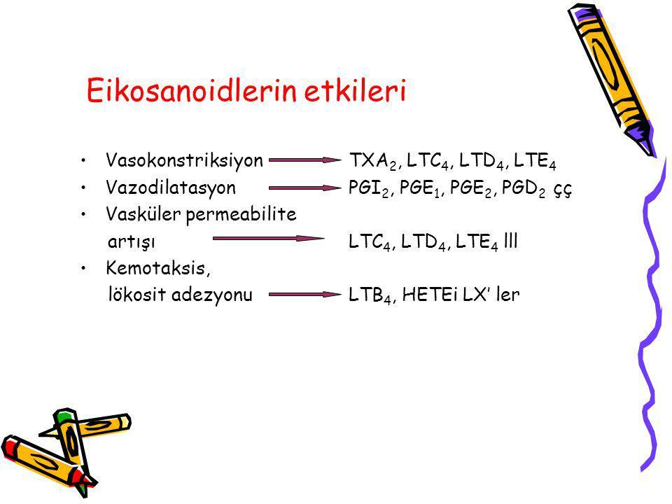 Eikosanoidlerin etkileri VasokonstriksiyonTXA 2, LTC 4, LTD 4, LTE 4 VazodilatasyonPGI 2, PGE 1, PGE 2, PGD 2 çç Vasküler permeabilite artışıLTC 4, LTD 4, LTE 4 lll Kemotaksis, lökosit adezyonuLTB 4, HETEi LX' ler