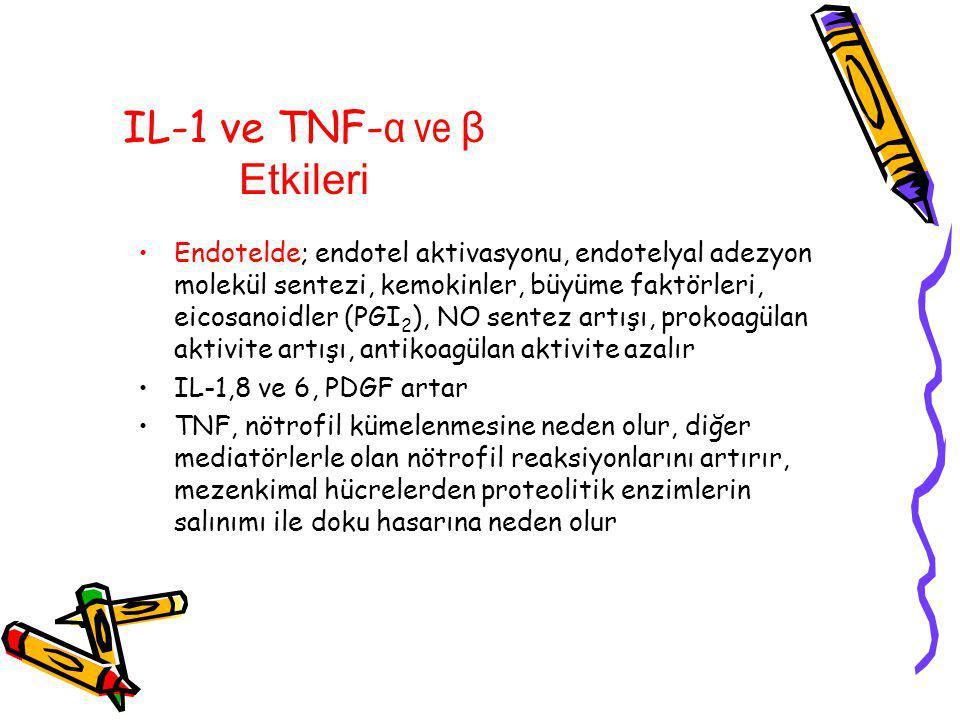 IL-1 ve TNF- α ve β Etkileri Endotelde; endotel aktivasyonu, endotelyal adezyon molekül sentezi, kemokinler, büyüme faktörleri, eicosanoidler (PGI 2 ), NO sentez artışı, prokoagülan aktivite artışı, antikoagülan aktivite azalır IL-1,8 ve 6, PDGF artar TNF, nötrofil kümelenmesine neden olur, diğer mediatörlerle olan nötrofil reaksiyonlarını artırır, mezenkimal hücrelerden proteolitik enzimlerin salınımı ile doku hasarına neden olur