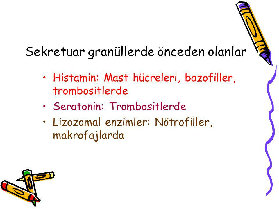 Sekretuar granüllerde önceden olanlar Histamin: Mast hücreleri, bazofiller, trombositlerde Seratonin: Trombositlerde Lizozomal enzimler: Nötrofiller,