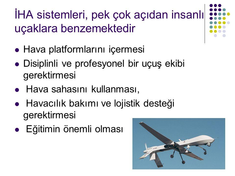 İHA sistemleri, pek çok açıdan insanlı uçaklara benzemektedir Hava platformlarını içermesi Disiplinli ve profesyonel bir uçuş ekibi gerektirmesi Hava sahasını kullanması, Havacılık bakımı ve lojistik desteği gerektirmesi Eğitimin önemli olması