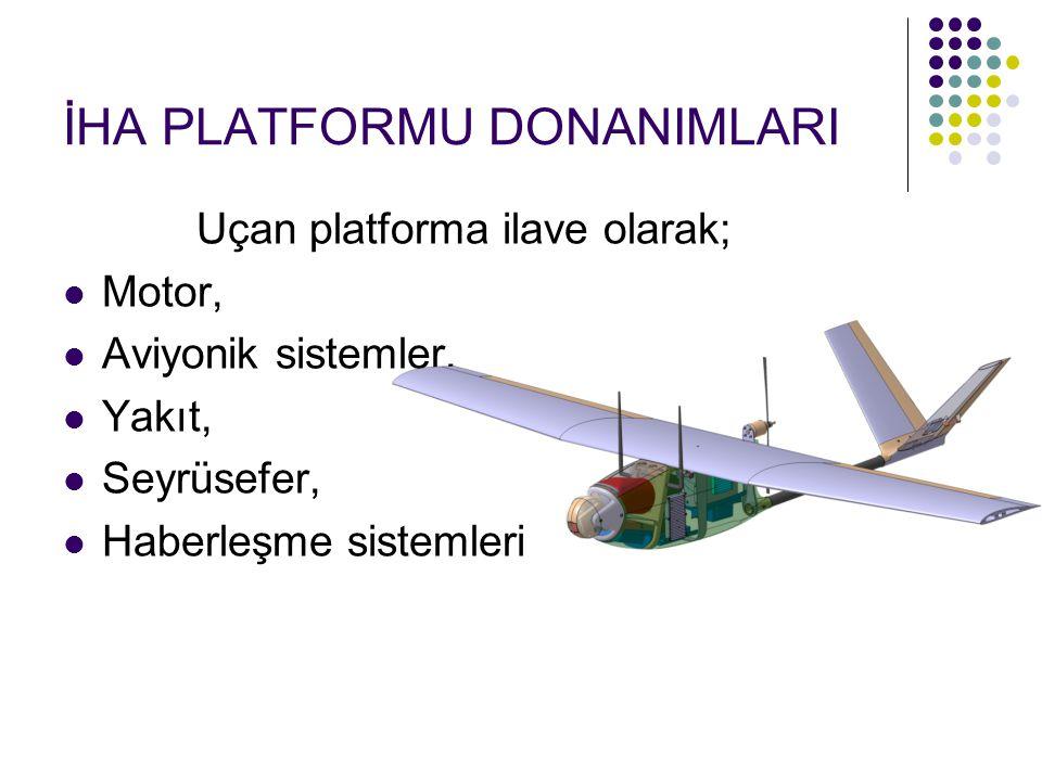 İHA PLATFORMU DONANIMLARI Uçan platforma ilave olarak; Motor, Aviyonik sistemler, Yakıt, Seyrüsefer, Haberleşme sistemleri