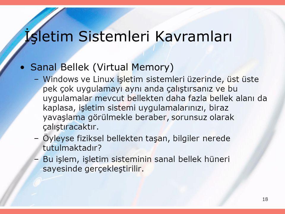 18 Sanal Bellek (Virtual Memory) –Windows ve Linux işletim sistemleri üzerinde, üst üste pek çok uygulamayı aynı anda çalıştırsanız ve bu uygulamalar