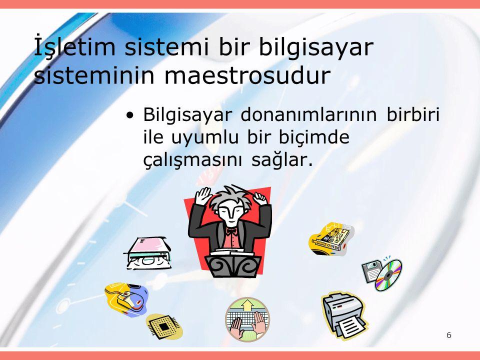 6 İşletim sistemi bir bilgisayar sisteminin maestrosudur Bilgisayar donanımlarının birbiri ile uyumlu bir biçimde çalışmasını sağlar.