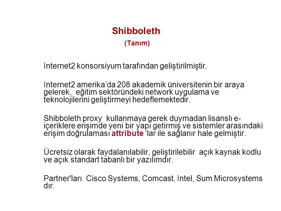 Shibboleth (Tanım) Internet2 konsorsiyum tarafından geliştirilmiştir. Internet2 amerika'da 208 akademik üniversitenin bir araya gelerek, eğitim sektör