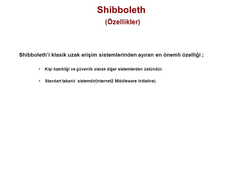 Shibboleth (Özellikler) Shibboleth'i klasik uzak erişim sistemlerinden ayıran en önemli özelliği ; Kişi özerkliği ve güvenlik olarak diğer sistemlerde