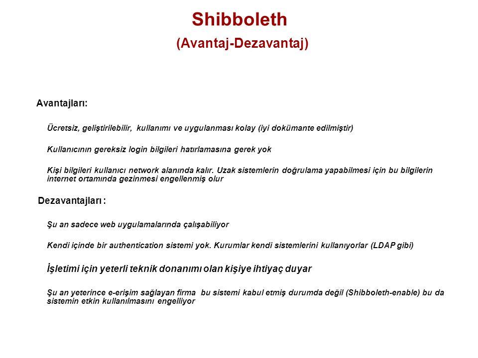 Shibboleth (Avantaj-Dezavantaj) Avantajları: Ücretsiz, geliştirilebilir, kullanımı ve uygulanması kolay (iyi dokümante edilmiştir) Kullanıcının gereks