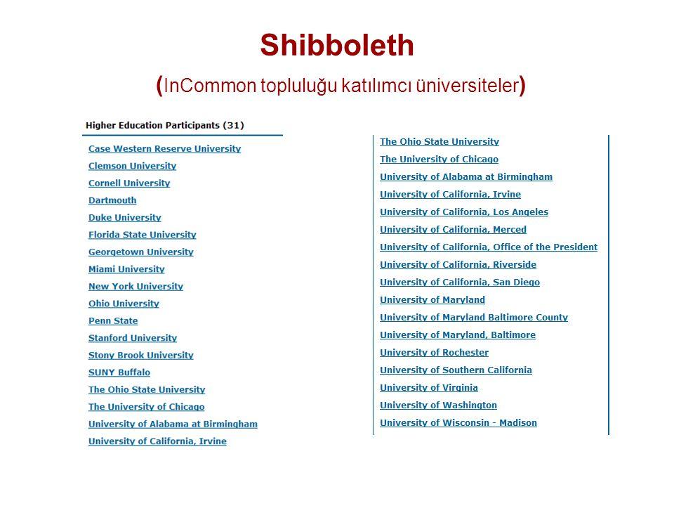 Shibboleth ( InCommon topluluğu katılımcı üniversiteler )