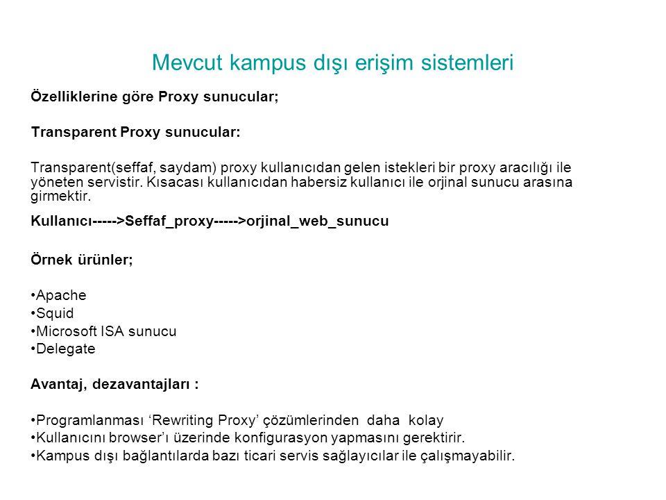 Mevcut kampus dışı erişim sistemleri Özelliklerine göre Proxy sunucular; Transparent Proxy sunucular: Transparent(seffaf, saydam) proxy kullanıcıdan g