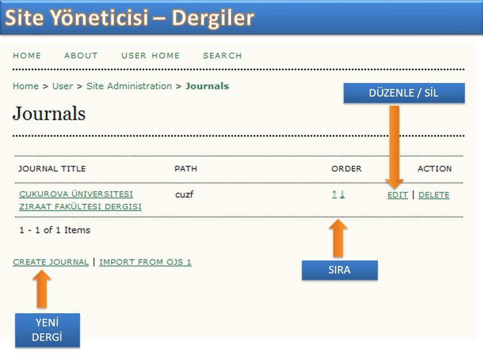 YENİ DERGİ DÜZENLE / SİL SIRA