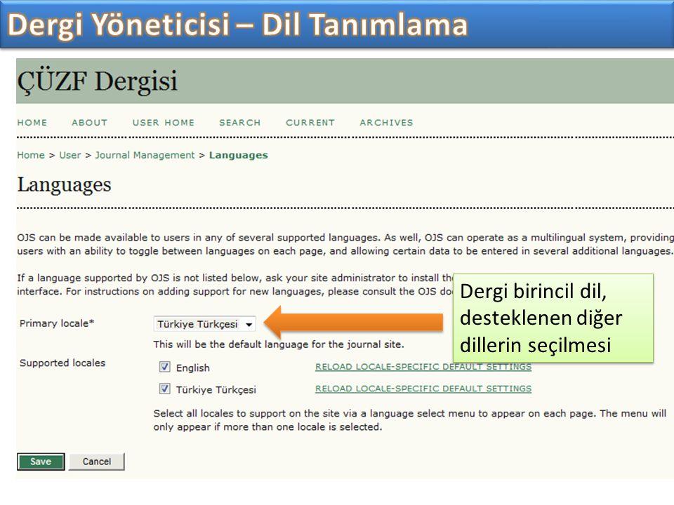 Dergi birincil dil, desteklenen diğer dillerin seçilmesi