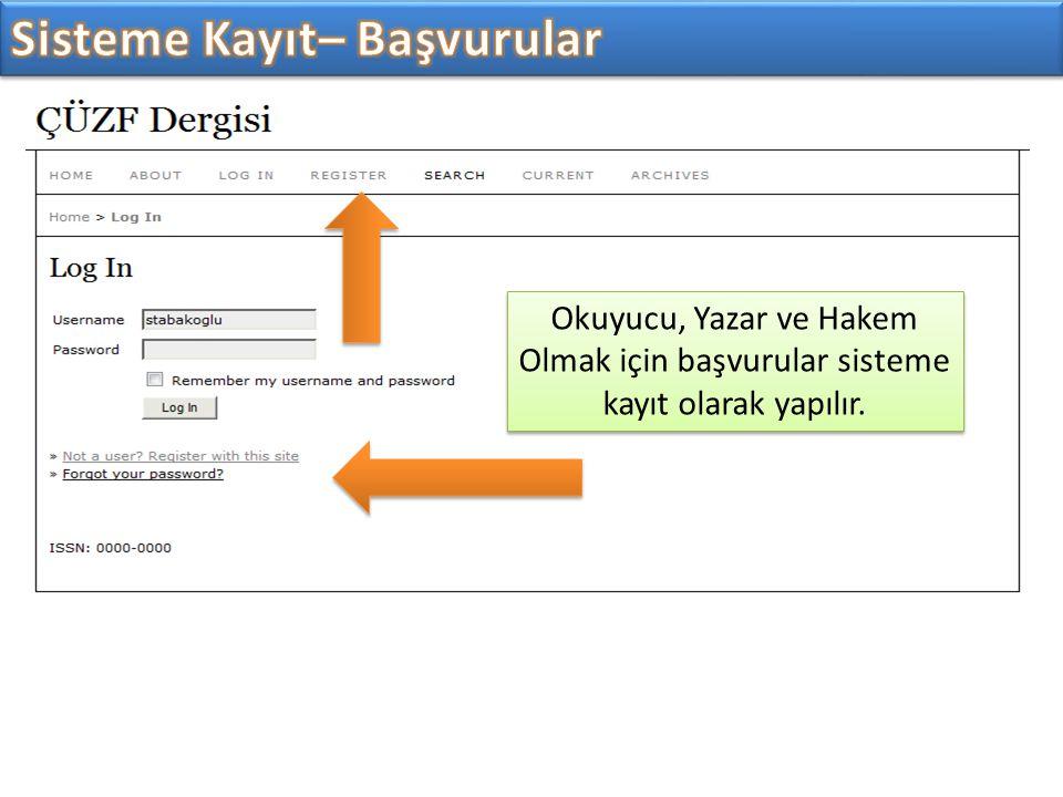 Okuyucu, Yazar ve Hakem Olmak için başvurular sisteme kayıt olarak yapılır.