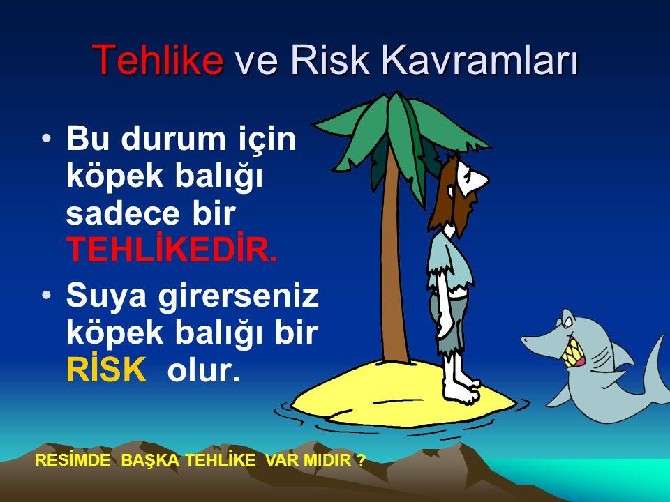 Tehlike ve Risk Kavramları Bu durum için köpek balığı sadece bir TEHLİKEDİR. Suya girerseniz köpek balığı bir RİSK olur. RESİMDE BAŞKA TEHLİKE VAR MID