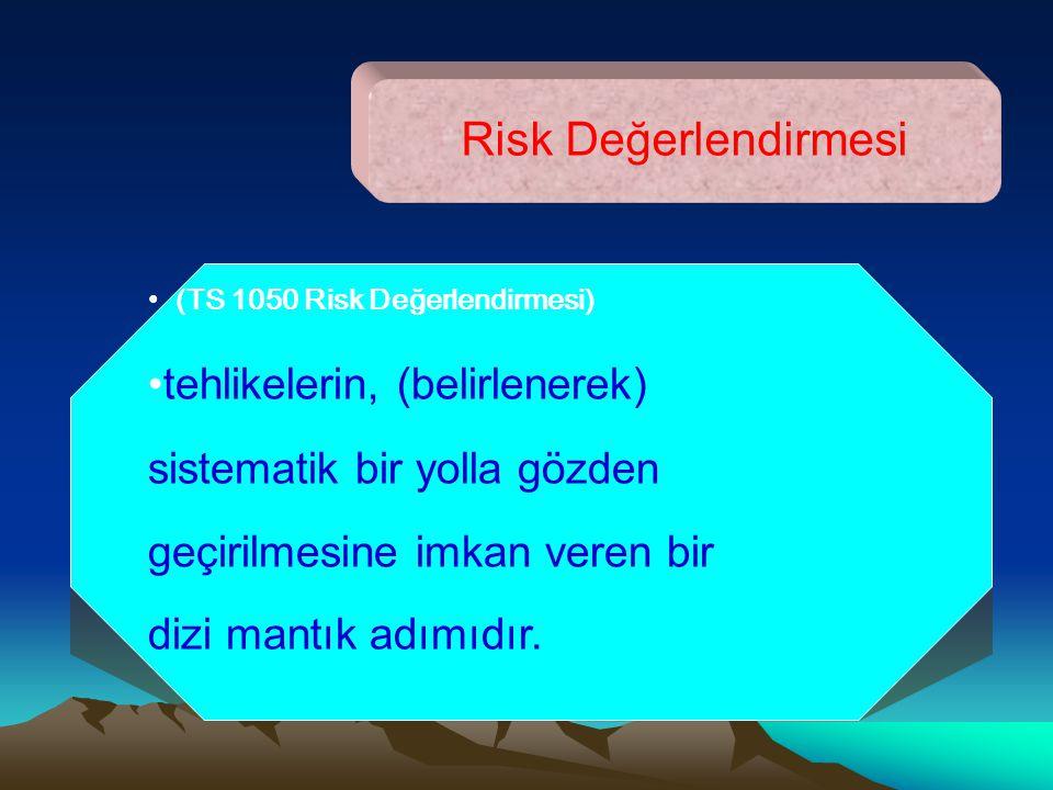 Risk Değerlendirmesi (TS 1050 Risk Değerlendirmesi) tehlikelerin, (belirlenerek) sistematik bir yolla gözden geçirilmesine imkan veren bir dizi mantık