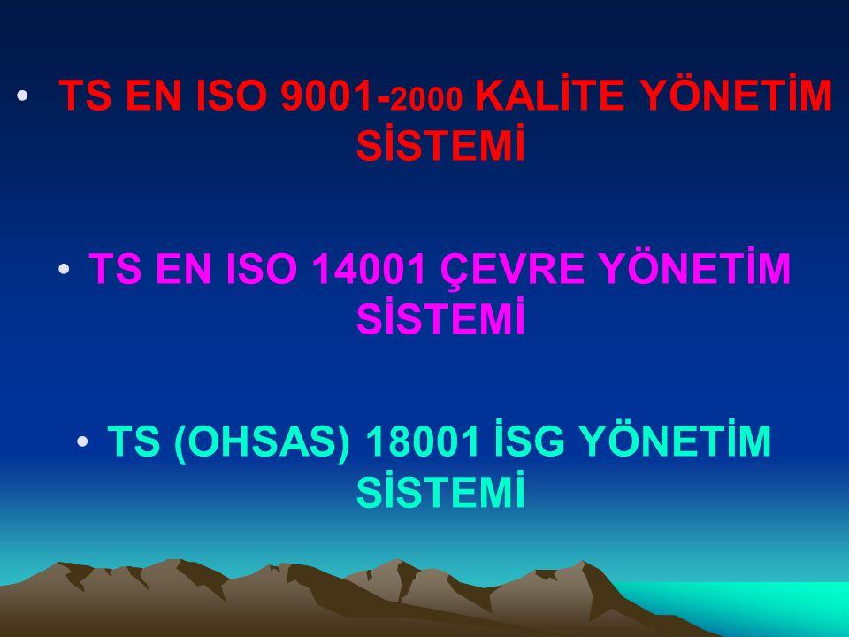 TS EN ISO 9001- 2000 KALİTE YÖNETİM SİSTEMİ TS EN ISO 14001 ÇEVRE YÖNETİM SİSTEMİ TS (OHSAS) 18001 İSG YÖNETİM SİSTEMİ