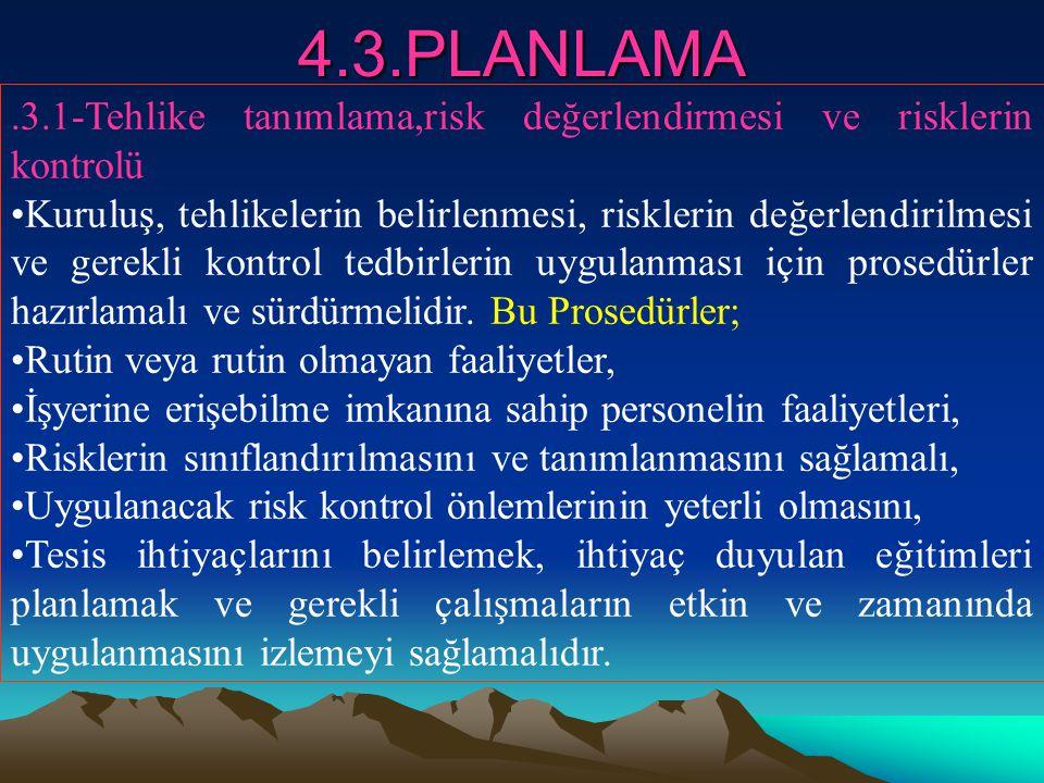 4.3.PLANLAMA.3.1-Tehlike tanımlama,risk değerlendirmesi ve risklerin kontrolü Kuruluş, tehlikelerin belirlenmesi, risklerin değerlendirilmesi ve gerek