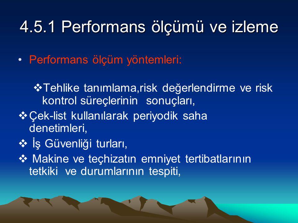 4.5.1 Performans ölçümü ve izleme Performans ölçüm yöntemleri:  Tehlike tanımlama,risk değerlendirme ve risk kontrol süreçlerinin sonuçları,  Çek-li
