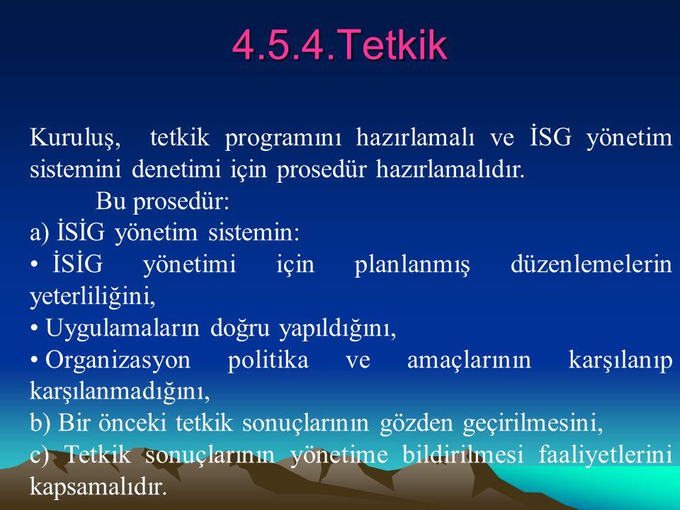 4.5.4.Tetkik Kuruluş, tetkik programını hazırlamalı ve İSG yönetim sistemini denetimi için prosedür hazırlamalıdır. Bu prosedür: a) İSİG yönetim siste
