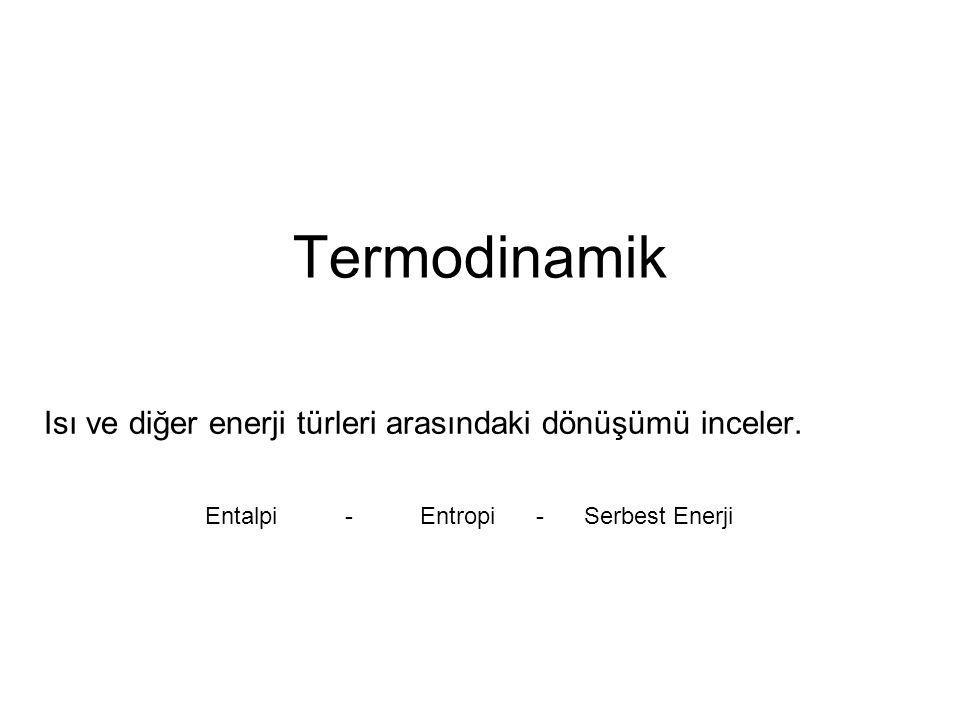 Termodinamik Isı ve diğer enerji türleri arasındaki dönüşümü inceler. Entalpi - Entropi - Serbest Enerji