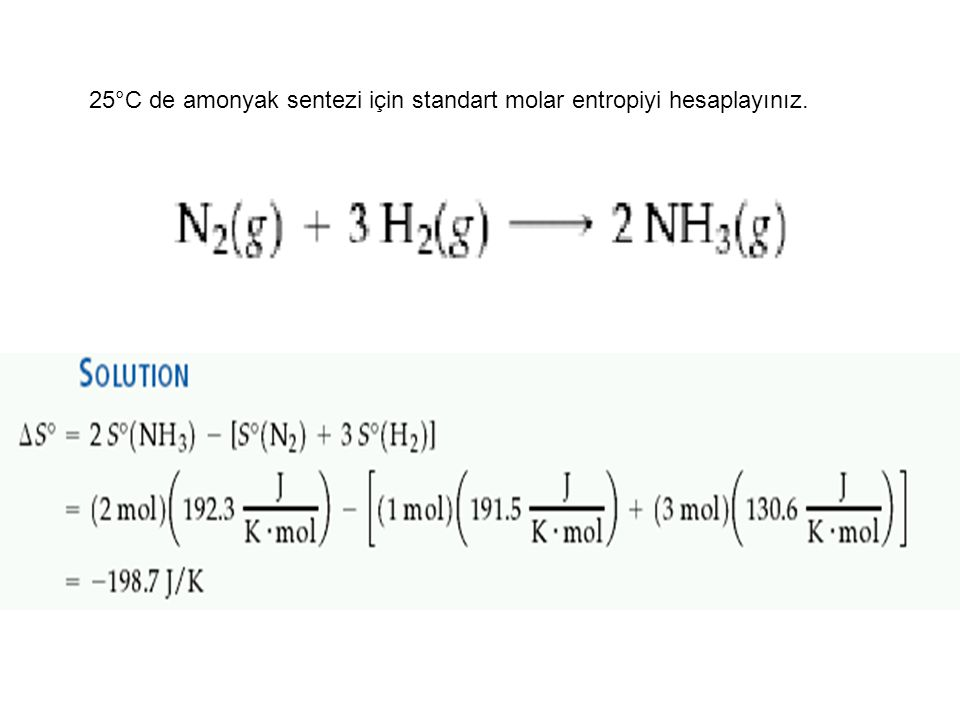 25°C de amonyak sentezi için standart molar entropiyi hesaplayınız.