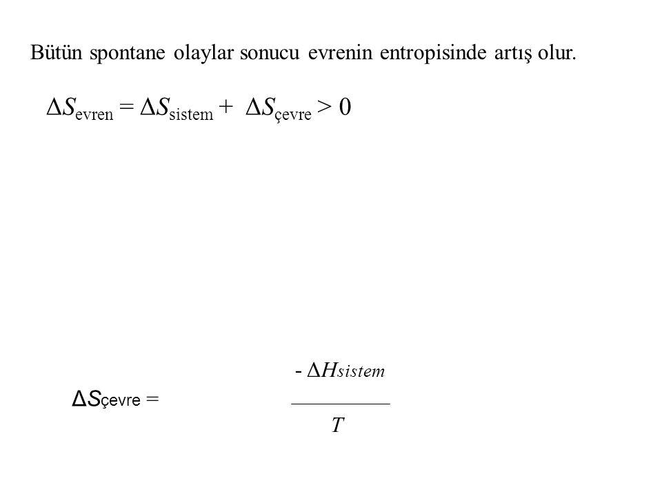 ΔS çevre = - ΔH sistem T ΔS evren = ΔS sistem + ΔS çevre > 0 Bütün spontane olaylar sonucu evrenin entropisinde artış olur.