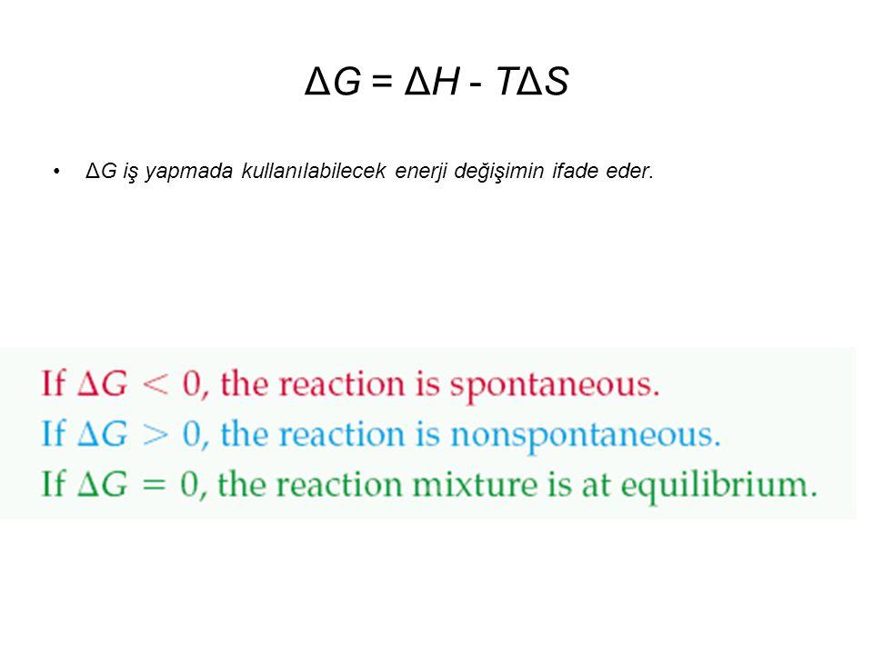 ΔG = ΔH - TΔS ΔG iş yapmada kullanılabilecek enerji değişimin ifade eder.