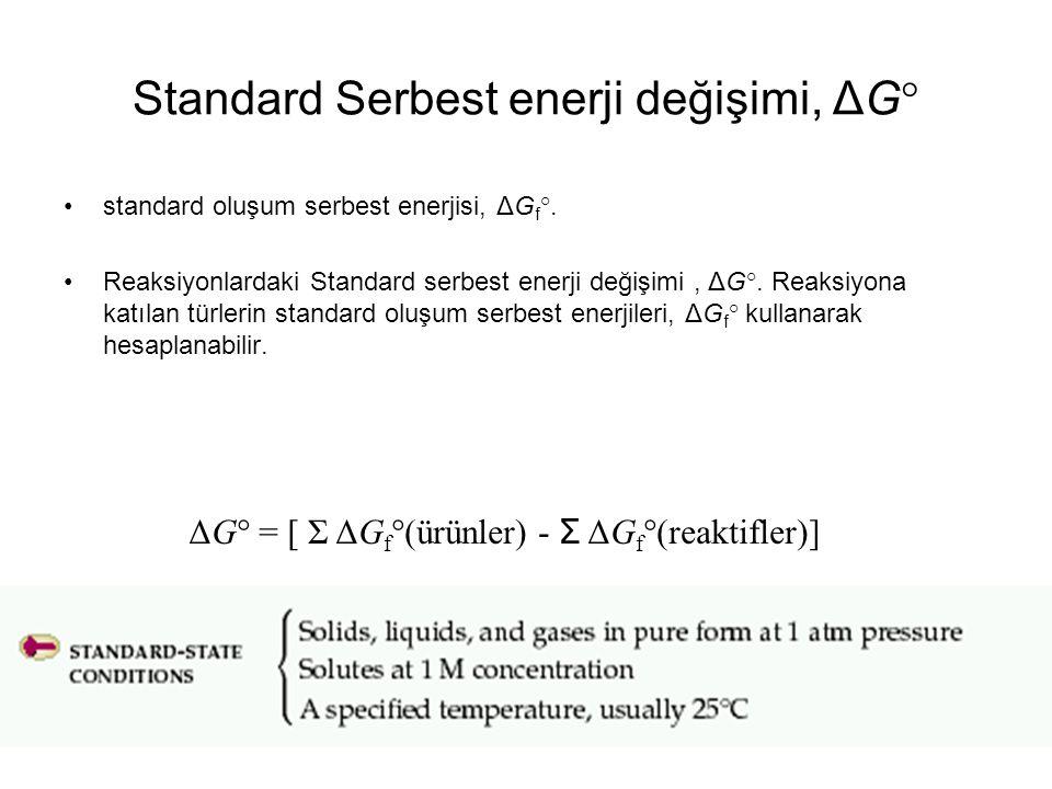 Standard Serbest enerji değişimi, ΔG° standard oluşum serbest enerjisi, ΔG f °. Reaksiyonlardaki Standard serbest enerji değişimi, ΔG°. Reaksiyona kat