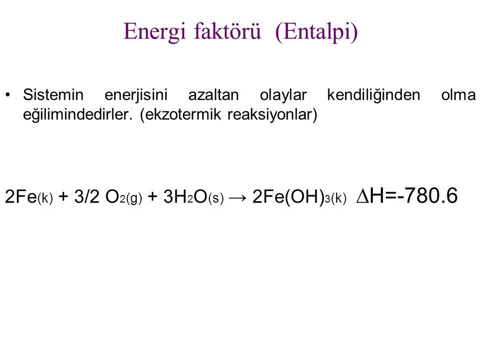 Energi faktörü (Entalpi) Sistemin enerjisini azaltan olaylar kendiliğinden olma eğilimindedirler. (ekzotermik reaksiyonlar) 2Fe (k) + 3/2 O 2 (g) + 3H