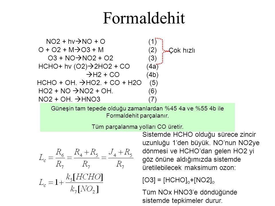Alken (C n H 2n ) Mekanizması Ozonid hızlı bir şekilde bozunarak karbonil ve Criegee denilen biradikal ara ürününü oluşturur.